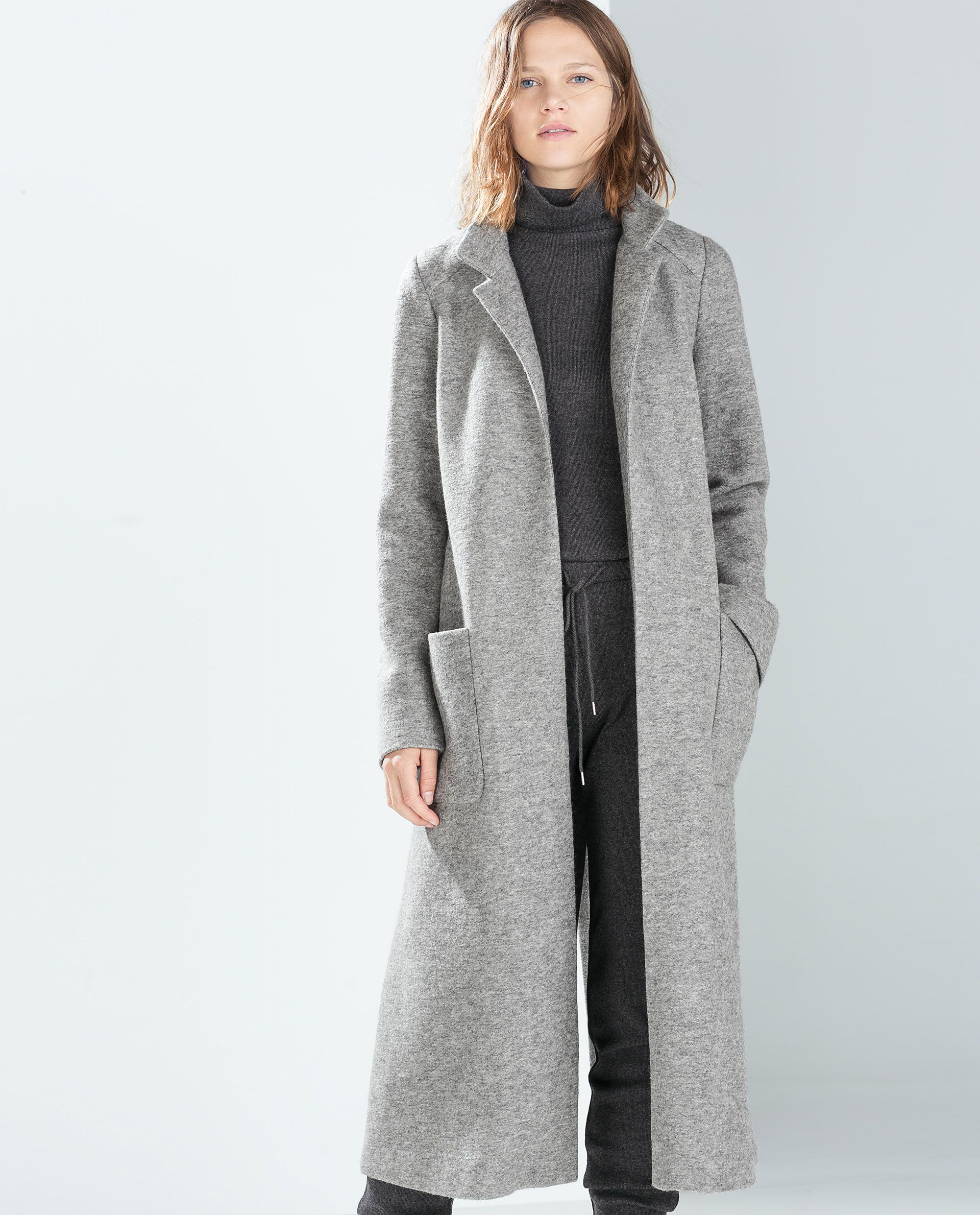 Image 3 of EXTRA LONG COAT from Zara | Looks | Pinterest | Coats ...