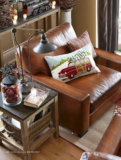 Pottery Barn Turner Leather Collection Rustic Living Room