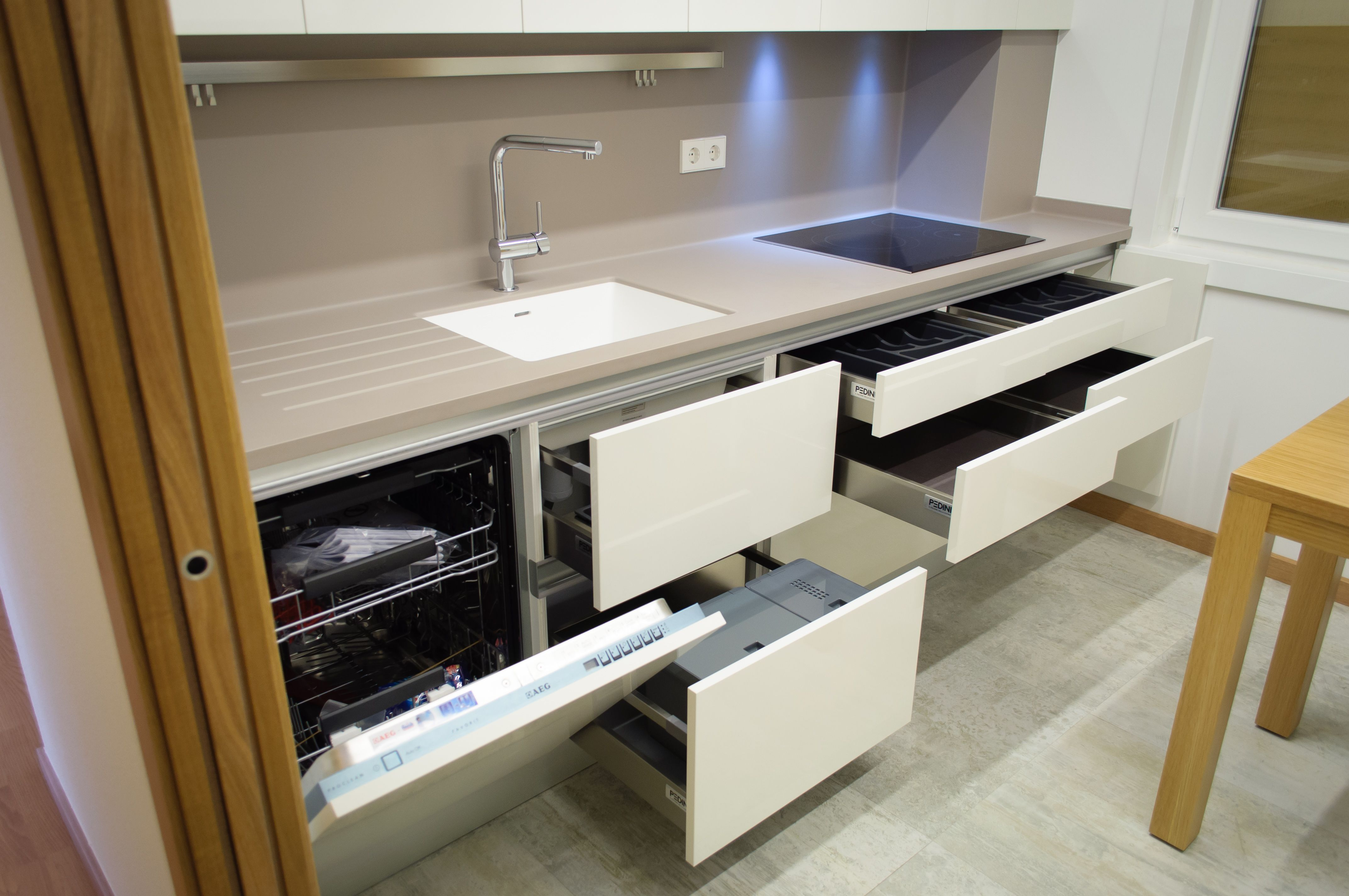 Salones Modulares Cocina Modelo System Collection Laminado En Blanco Brillo