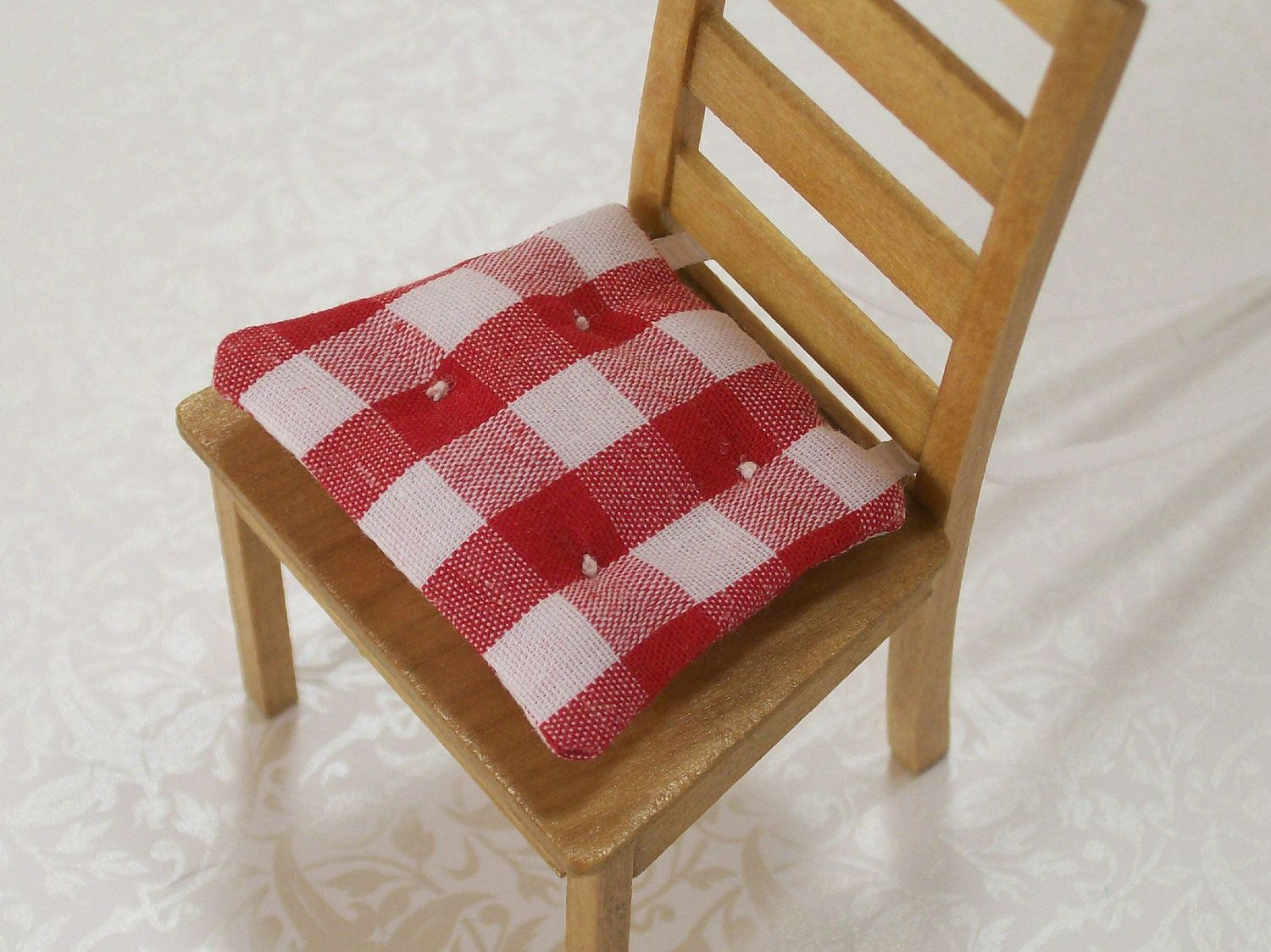 Red White Gingham Kitchen Chair Cushions Dolls House Miniature Kitchen Chair Cushions Chair Cushions Kitchen Chairs