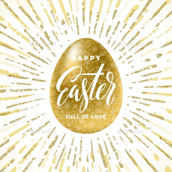 Easter Greeting Illustration by Sergo Golden Easter egg with holiday greeting �20Vector illustration. Included files: Ai, EPS, high-resolution JEPG. NOTE: text is not ed