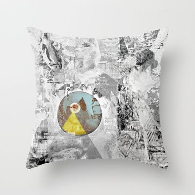 Décollage °Urbana^ Mono85 Throw Pillow by ChiTreeSign - $20.00