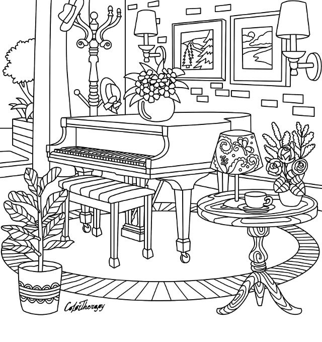 piano colouring page