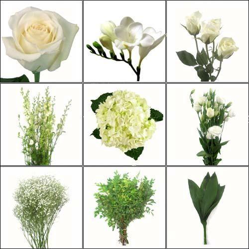 Wholesale Wedding Flower Packages: Wholesale Pure White DIY Wedding Flower Pack