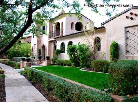 Arizona estate home front yard landscaping | Luxury real ... on Luxury Front Yard Landscape id=25991