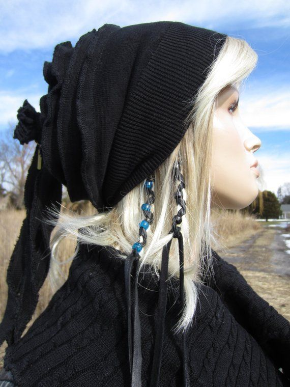 e79231c4fa351 Rag Tie Back Slouchy Beanie Wool Hat Black Merino Wool Blend for Women A930