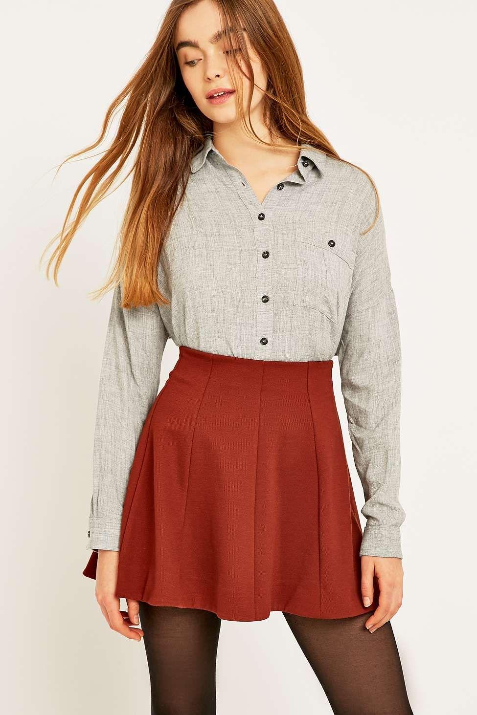 Kimchi Blue Flirt With Me Rust Skirt