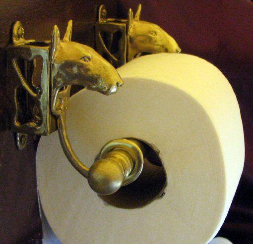Bull Terrier Bronze Paper Holder.