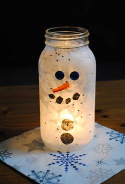 Mason Jar Decorating Ideas For Christmas Mason Jar Christmas Crafts  Christmas Craft Snowman Light