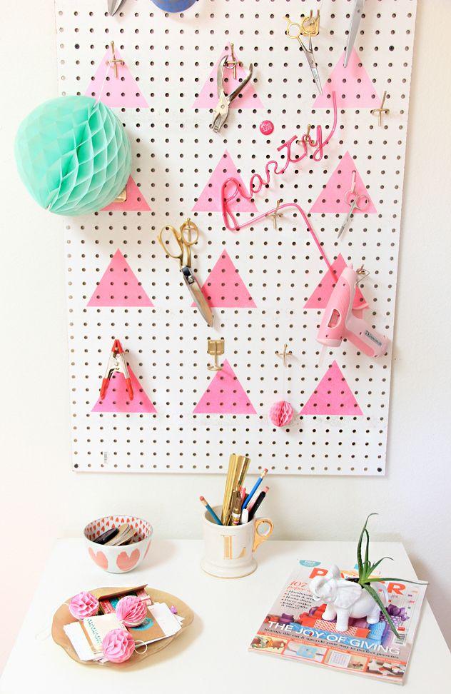 A Bubbly Life: DIY Geometric Ombre Peg Board Organization