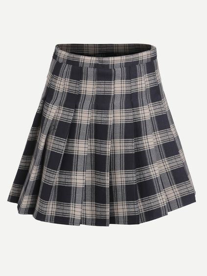297be5ecc Navy Plaid Zipper Pleated Skirt   to wear someday in 2019   Pleated ...
