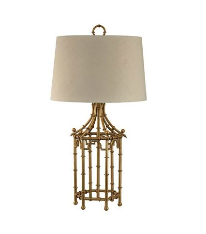 Gold Faux Bamboo Pagoda Lamp With Linen Shade From A Palm Beach Inspired Bedroom Post Be Colorful Coastal Blog Birdcage Lamp Table Lamp Lamp