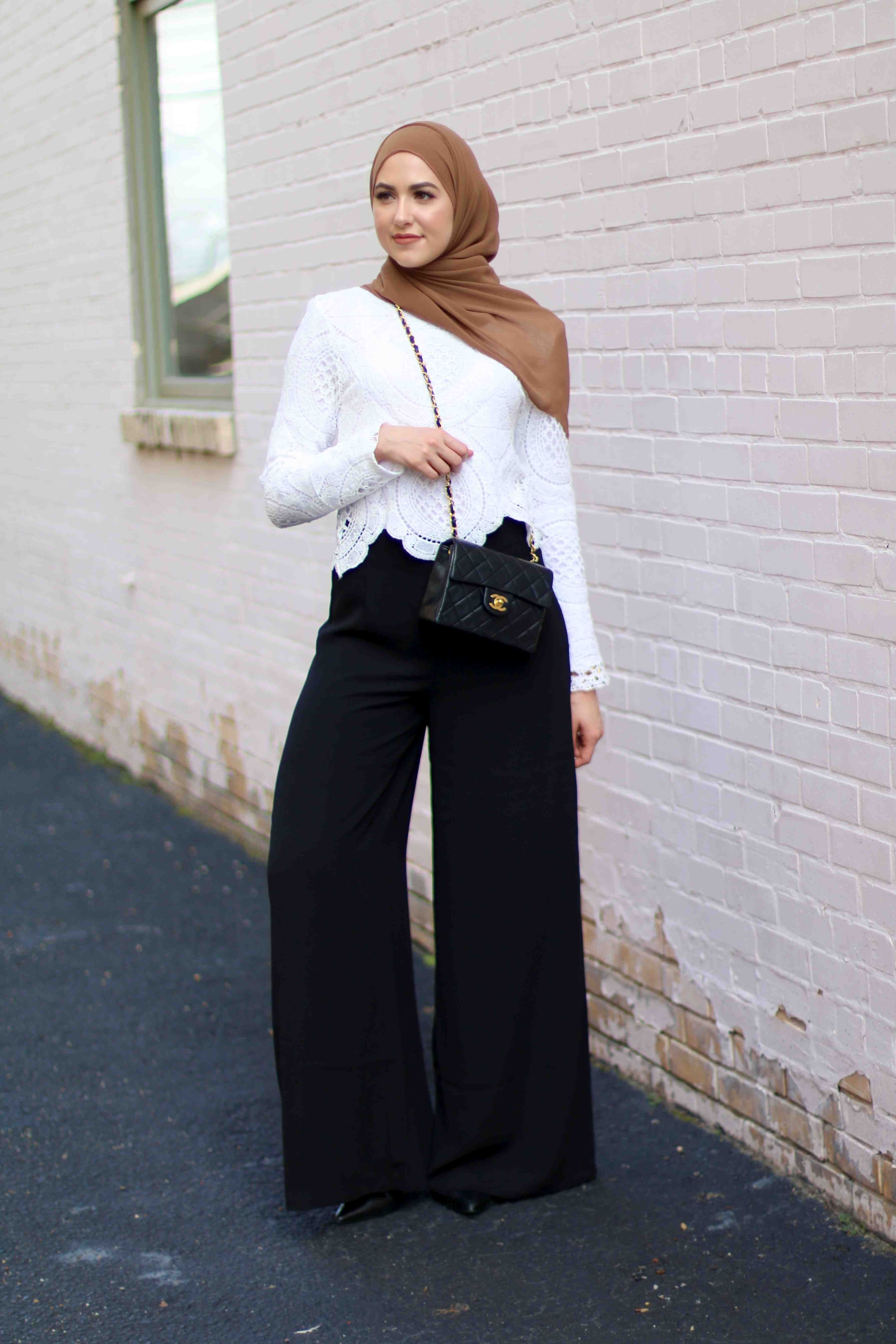 d69095c3b With Love, Leena | Leena Asad | white lace scalloped edge crop top shirt +  black long loose pants + pointed toe heels + tan hijab/scarf + black Chanel  mini ...
