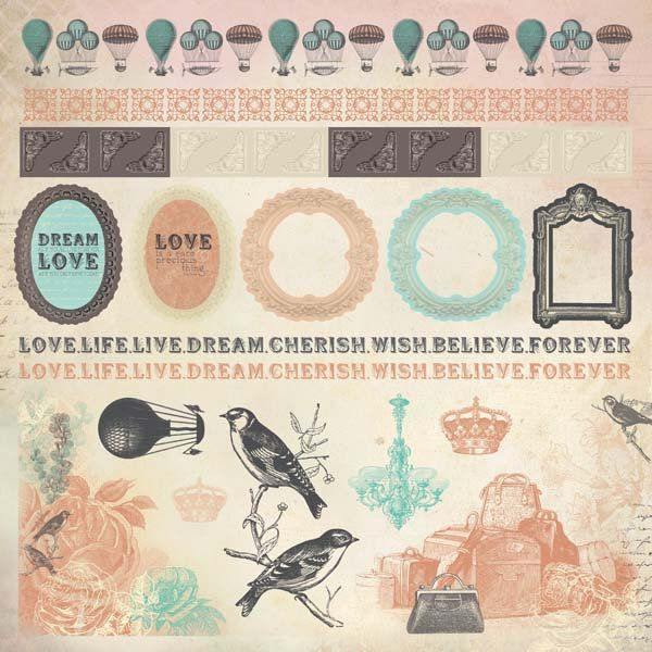 Border Stickers Kaisercraft Periwinkle Hot Air Balloons Vintage Crown Love Life Live Dream Cherish Wish Believe Sticker Sheets Kaisercraft Periwinkle