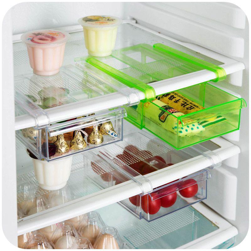 De gran tamaño tipo gancho especiero plástico plegable cocina nevera nevera  de los alimentos 20.5   15   7 cm cocina estante para platos organizador en  ... 9dcf9352abf6