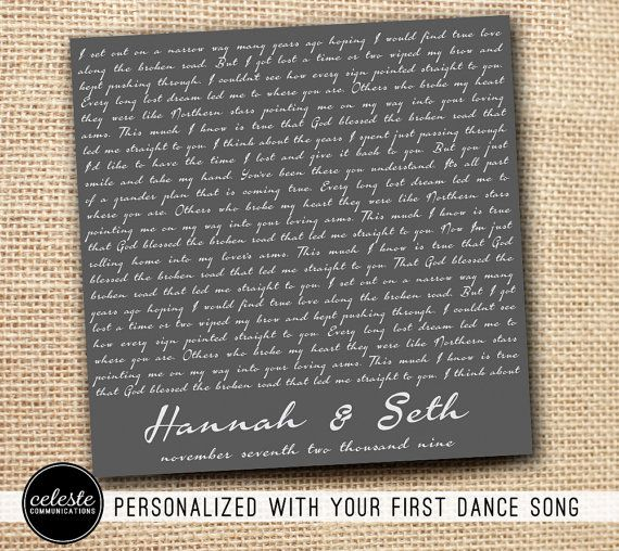 Top 10 First Dance Songs: Personalized First Dance Lyrics Metal Sign Wall Art Print
