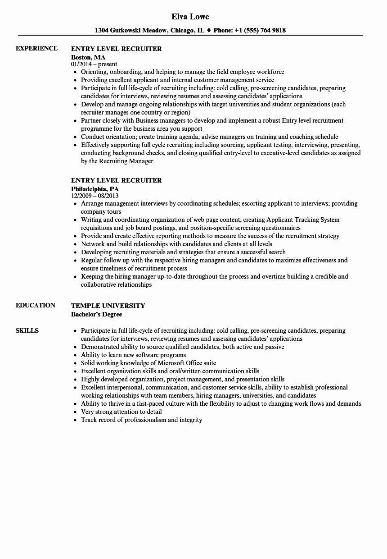 Entry Level Customer Service Resume Awesome Entry Level Recruiter Resume Samples Recruiter Resume Entry Level Resume Customer Service Resume