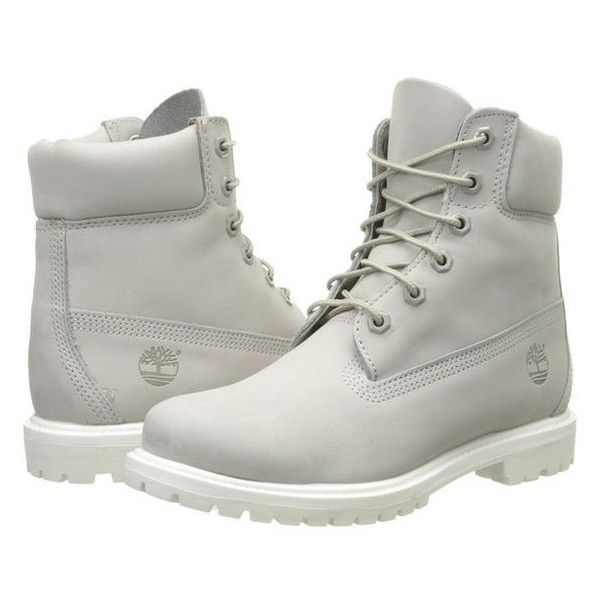 13cce3ccfa5d Timberland 6 Premium Boot (Light Grey Nubuck) Women s Lace-up Boots ❤ liked  on Polyvore featuring shoes