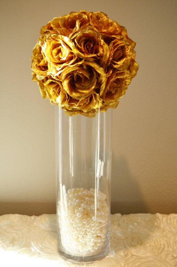 Gold Wedding Centerpiece Gold Flower Balls Wedding Pomanders Kissing Balls Flower Girl 7 8 10 Gold Wedding Centerpieces Black And Gold Centerpieces Flower Ball Centerpiece