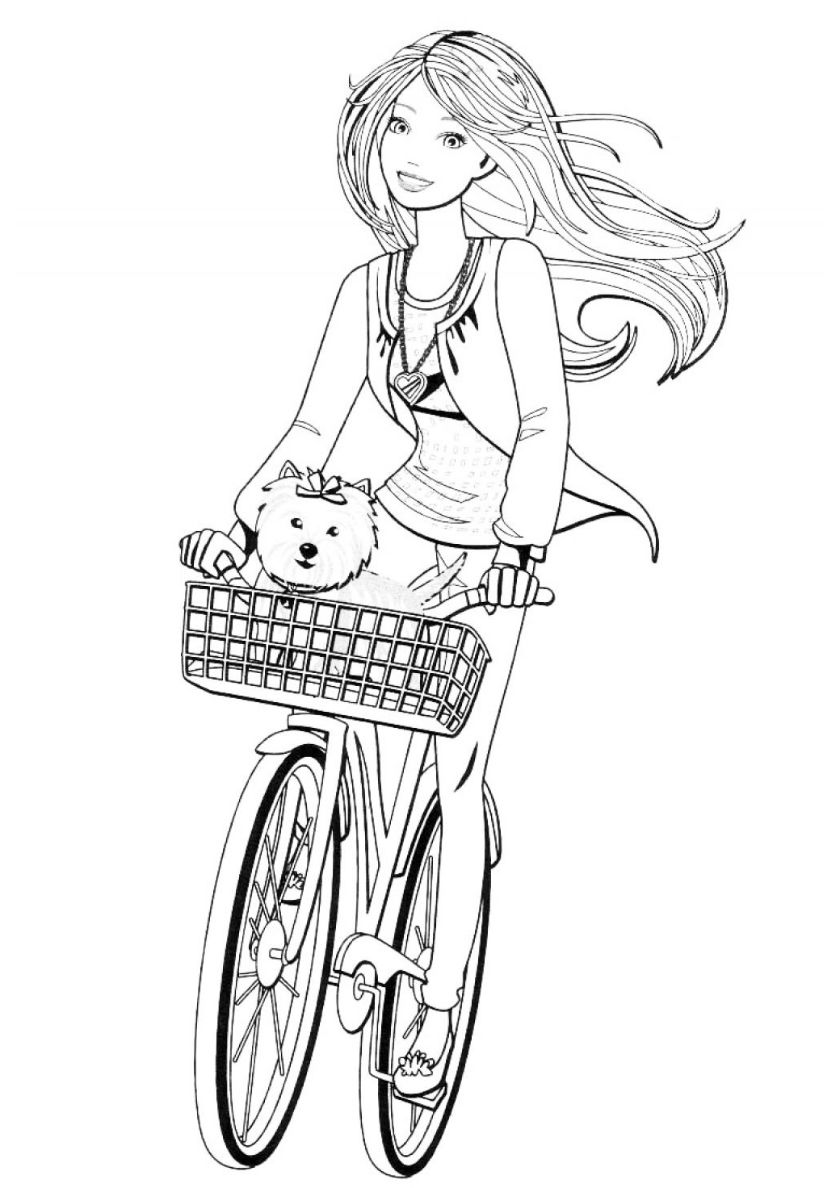 Cycling With A Pet High Quality Free Coloring From The Category Barbie More Printable Pictures On Cute Coloring Pages Barbie Coloring Pages Coloring Pages