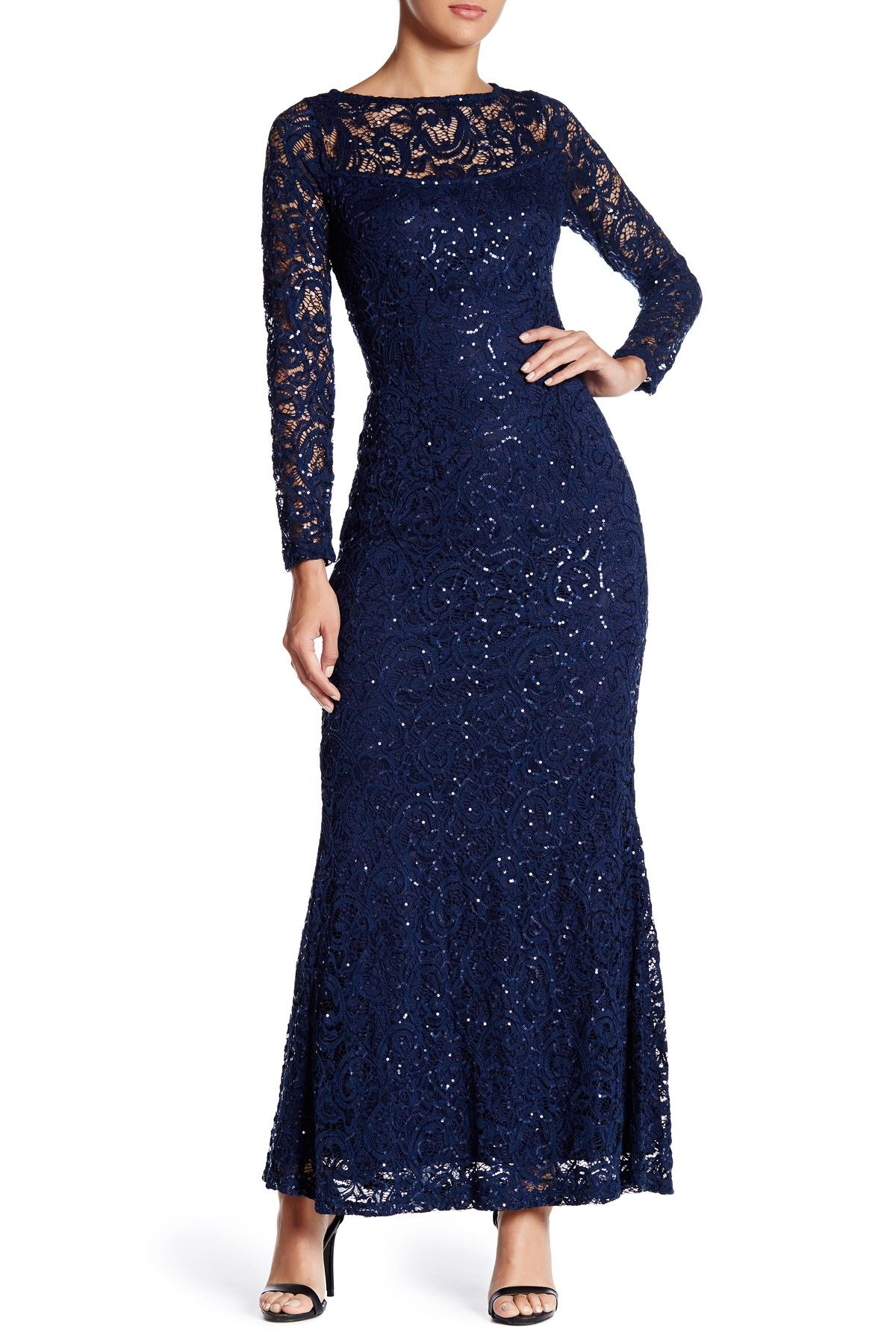 8da0a804f892 Marina - Long Sleeve Lace Gown at Nordstrom Rack. Free Shipping on orders  over…