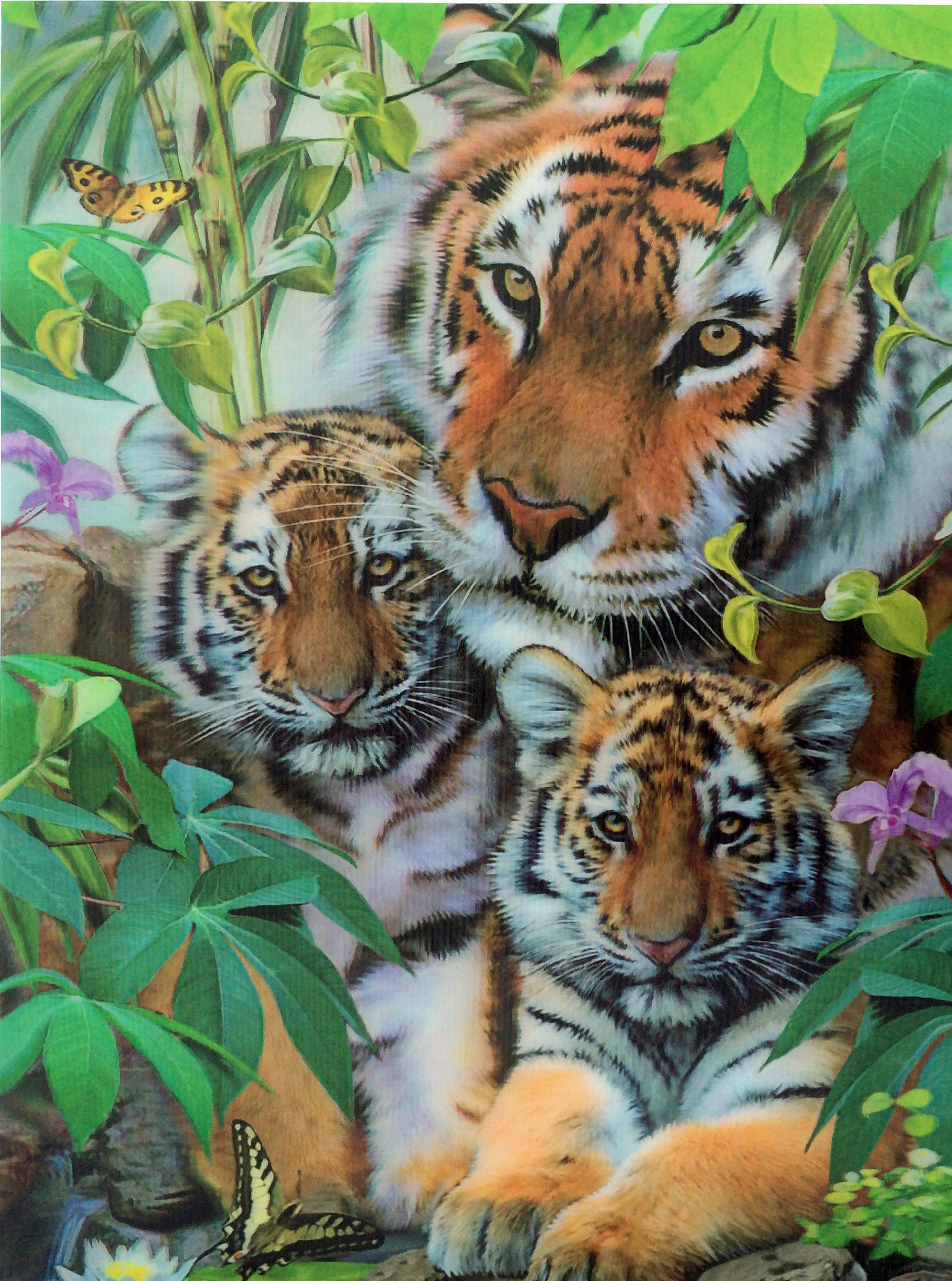 3D Picture Tiger & Cubs Big Cats Animals, Cute