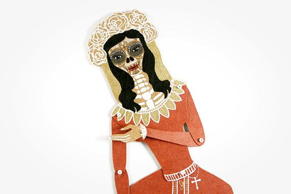 Santa Muerte - Articulated Paper Doll by Maria Dubrovskaya. Kraft paper, hand painted, MADE TO ORDER.