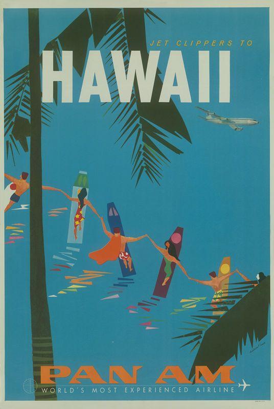 Hawaii Vintage Pan Am Poster Vintage Airline Posters Travel Posters Hawaiian Travel