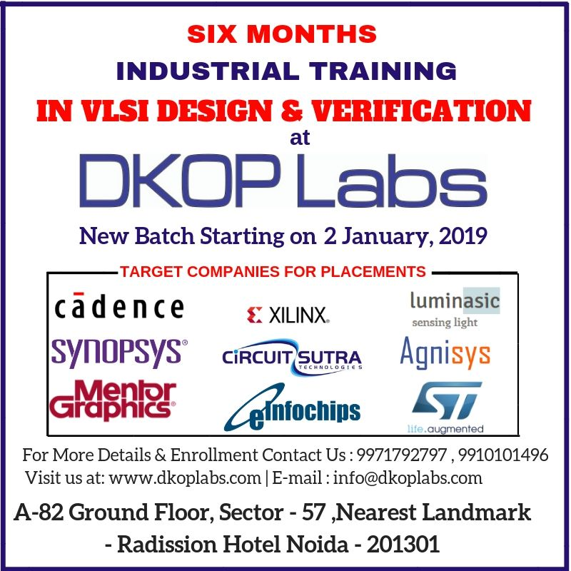 DKOP Labs - Six Months Industrial Training in VLSI Design