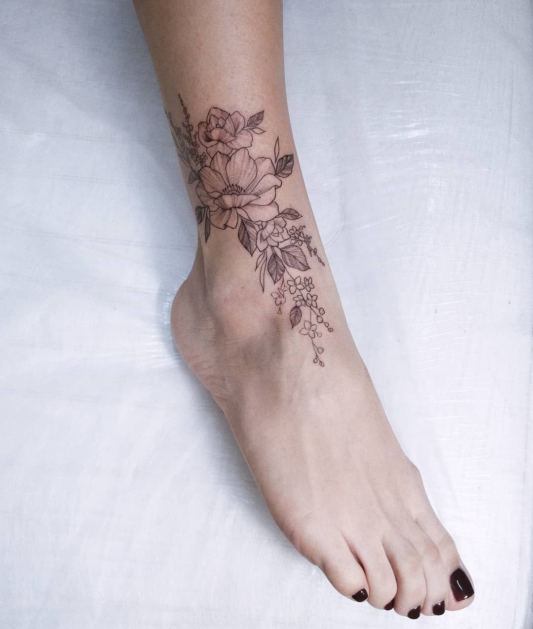 Delicate Floral Ankle Tattoo By Irene Bogachuk Feminine Tattooing Irenebogachuk Ankle Tattoos For Women Ankle Tattoo Foot Tattoos