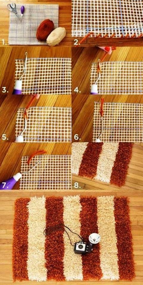 Tapete de linha (con imágenes) | Como hacer una alfombra ...
