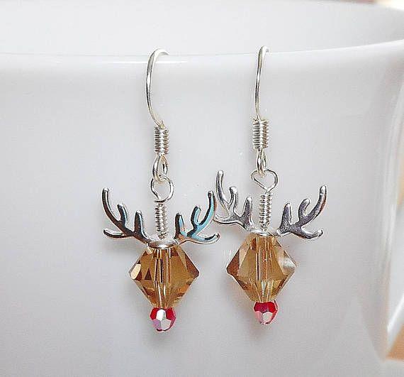 8256c12b7 Adorable Reindeer Earrings Made with Swarovski Crystal Beads ...