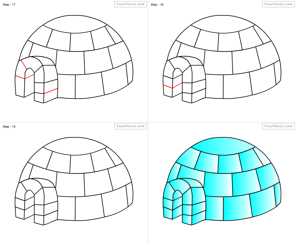 How To Draw Igloo For Kids Step By Step Drawing Tutorial