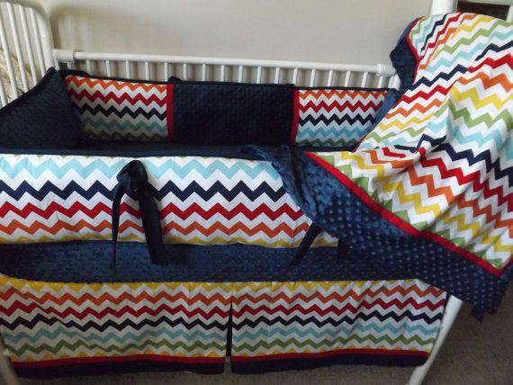 Rainbow Navy Red Baby Bedding Crib Set Deposit By Abusymother 50 00