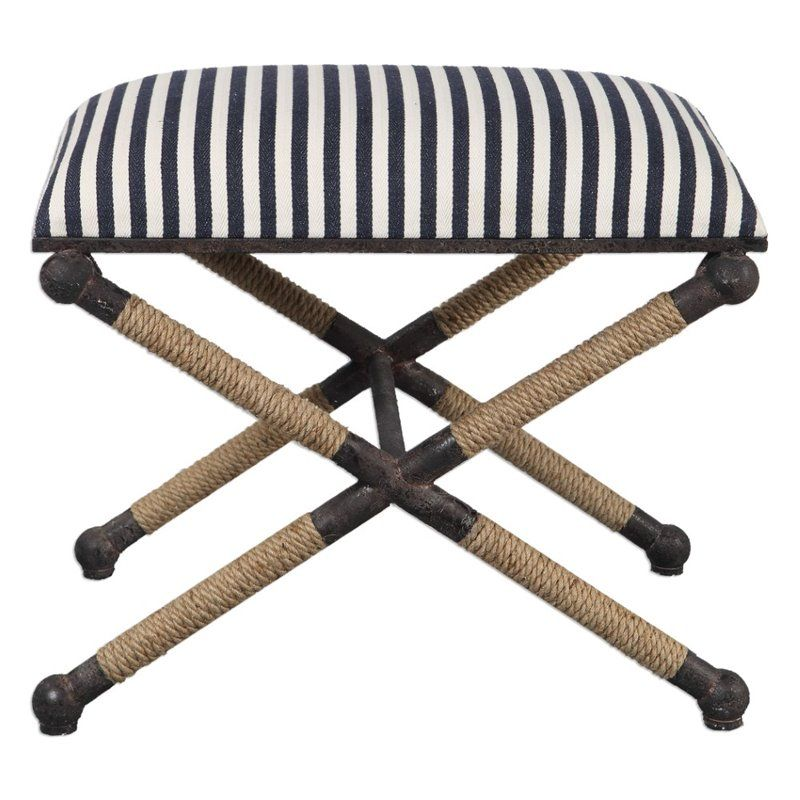 Terrific Uttermost Braddock Small Bench In Navy And White And Rustic Cjindustries Chair Design For Home Cjindustriesco