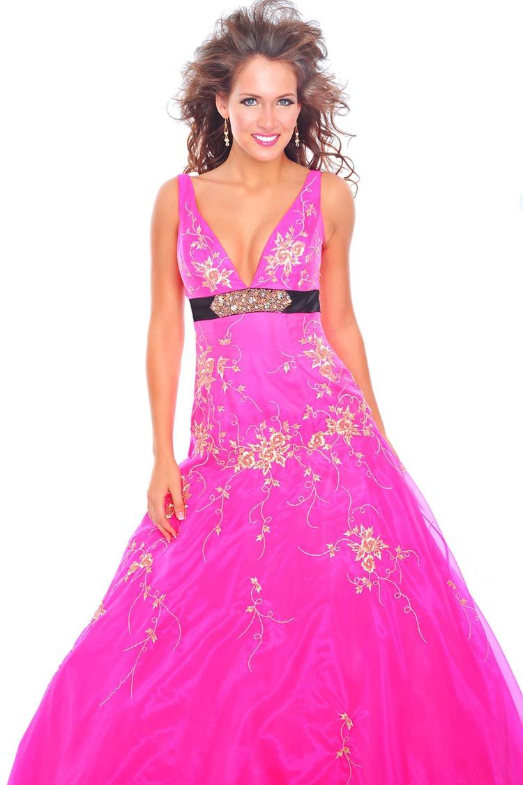 Precious Formals Prom Dress Style P44114 Available in Hot Pink/Black ...