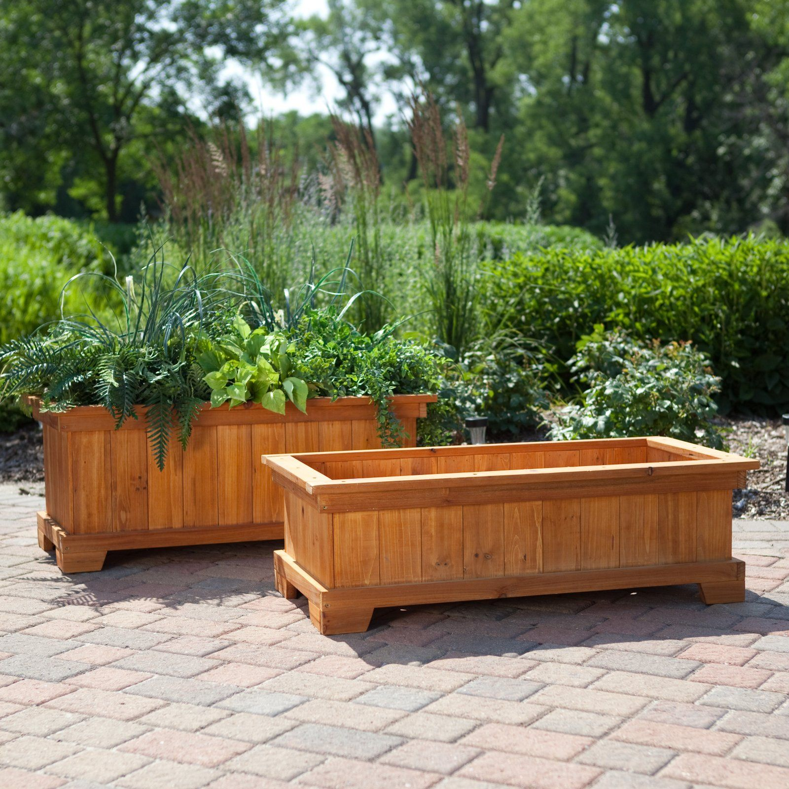 Patio planter box good way to use extra wood flooring