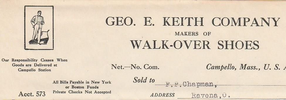 1909 Invoice George E Keith Co Walk Over Shoes Campello