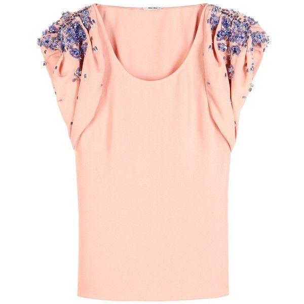 Miu Miu Embellished Crepe Top (20.323.655 VND) ❤ liked on Polyvore featuring tops, blouses, miu miu, orange, embellished top, embellished blouse, orange top, pink top and crepe blouse