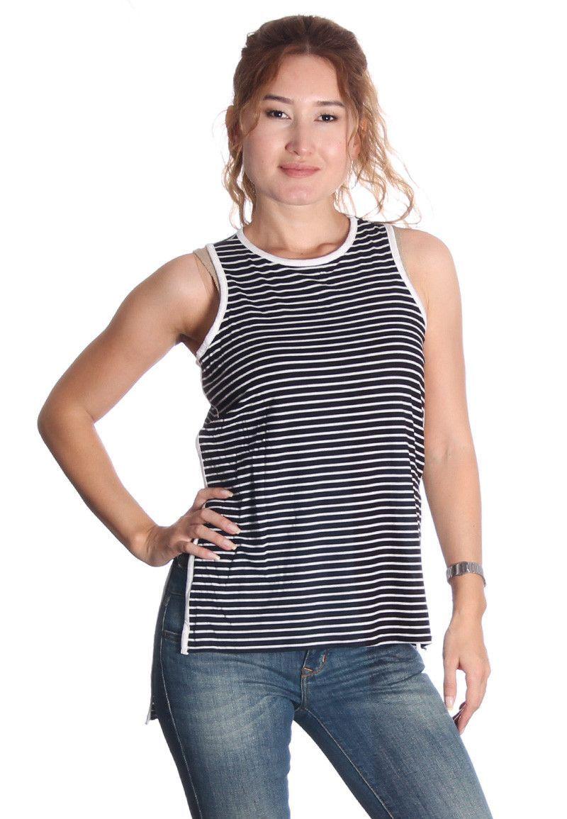 Black & White Striped Hi Lo Top