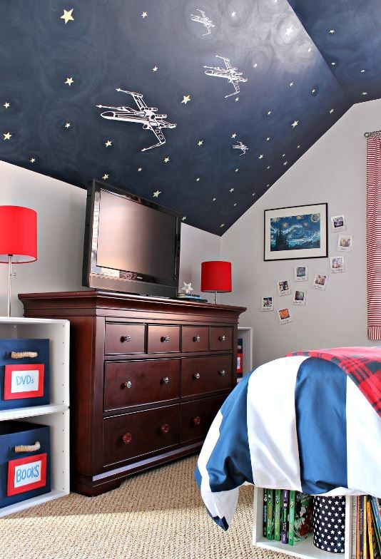 Amazing Kids Room Design Star Wars All Is Decorated With Start Elements Ceilings In This Are Hand Painted Eship Stickers