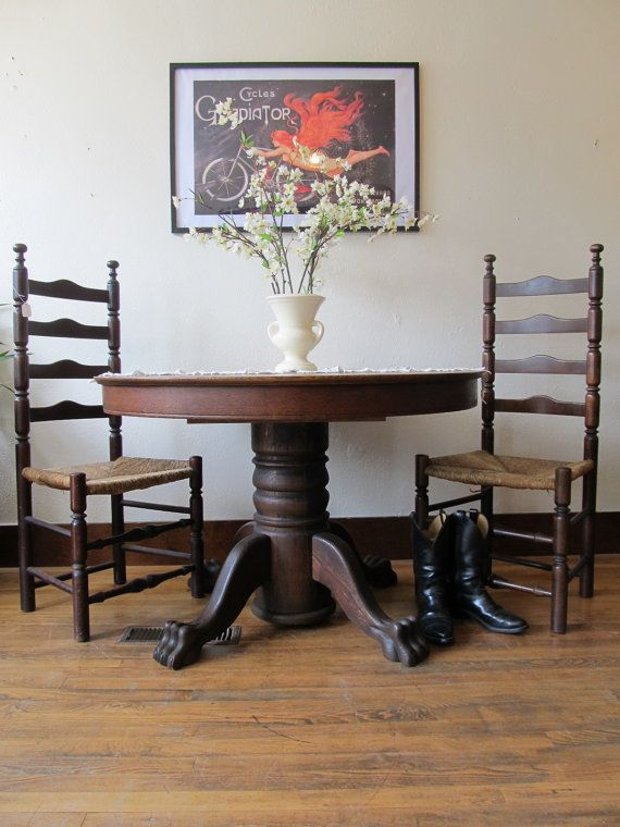 Antique Oak Claw Foot Table by JulesVernonVintage on Etsy