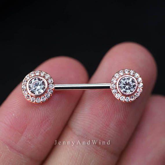 nipple ring 14g nipple jewelry rose gold nipple barbell 1 body