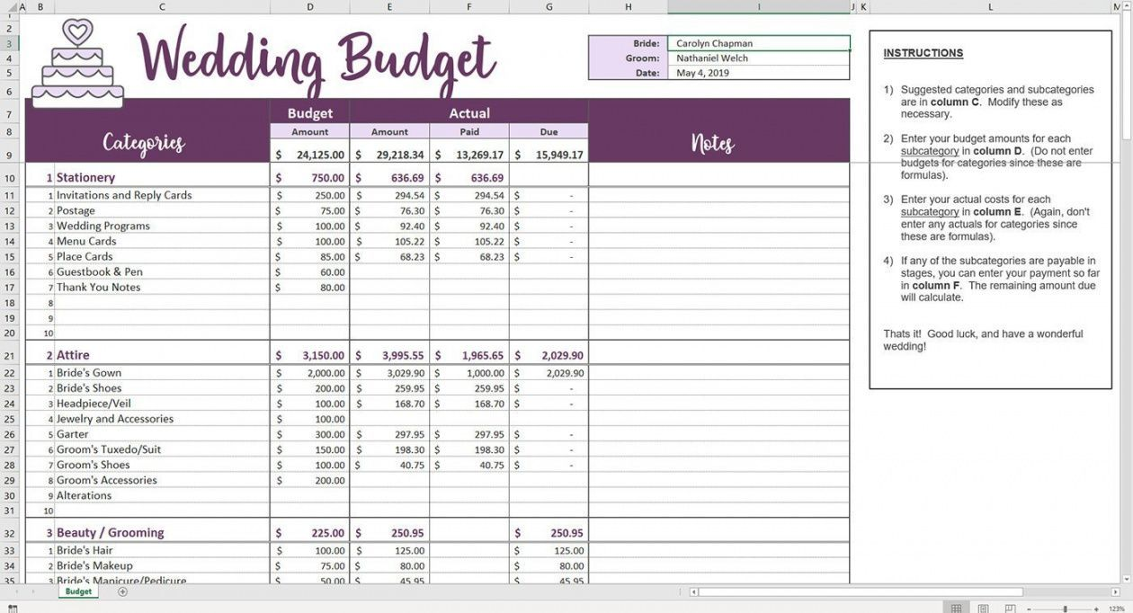 Get Our Sample of Marriage Budget Template for Free in