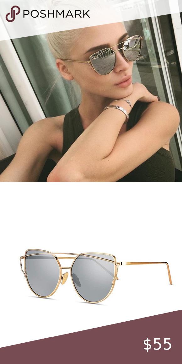 Mirrored Silver Lens Gold Frame Cat Eye, Silver Mirror Frame Sunglasses