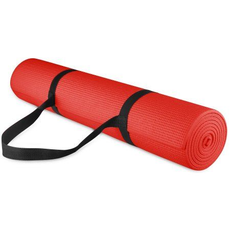 BalanceFrom 1/4-inch Thick All Purpose High Density Non-Slip Yoga Mat with Carrying Strap, Red