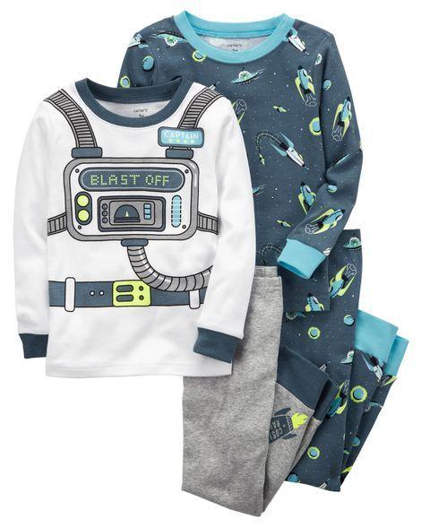 852a517260a2 4-Piece Neon Astronaut Snug Fit Cotton PJs