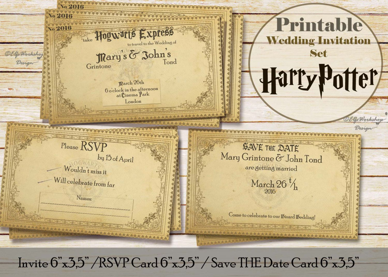 instant download wedding invitation save the date and rsvp card with harry potter theme - Harry Potter Wedding Invitations
