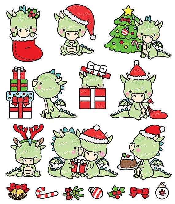 Kawaii Christmas.Premium Vector Clipart Kawaii Christmas Dragons Cute