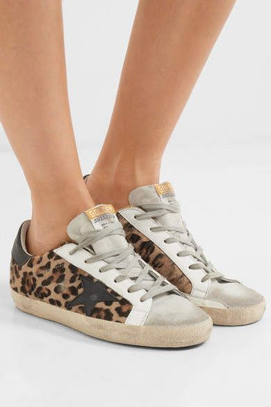 d8a9d92cb5e7c Golden Goose Deluxe Brand - Super Star Distressed Leather And Calf Hair  Sneakers - Leopard print